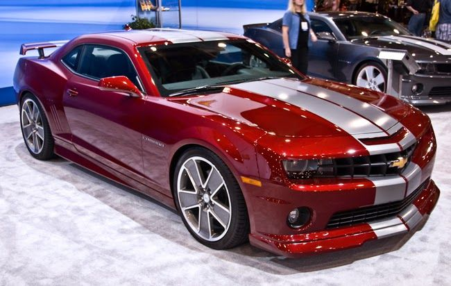 Custom Chevrolet Camaro Above Is Designed In Red Metallic Car Paint Color And Silver Stripes If You See This Two Doors Sports