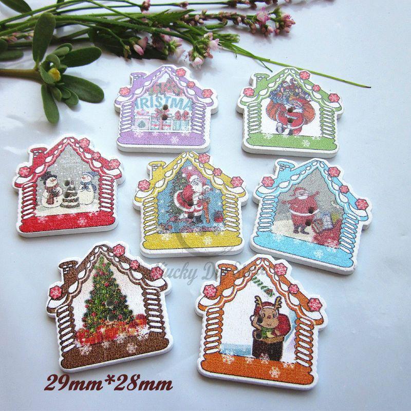 DIY 50pcs Mixed Christmas Wooden buttons Scrapbooking Decoration Christmas