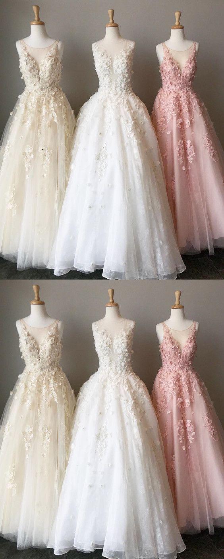 Elegant aline scoop neckline tulle princess prom dresses lace