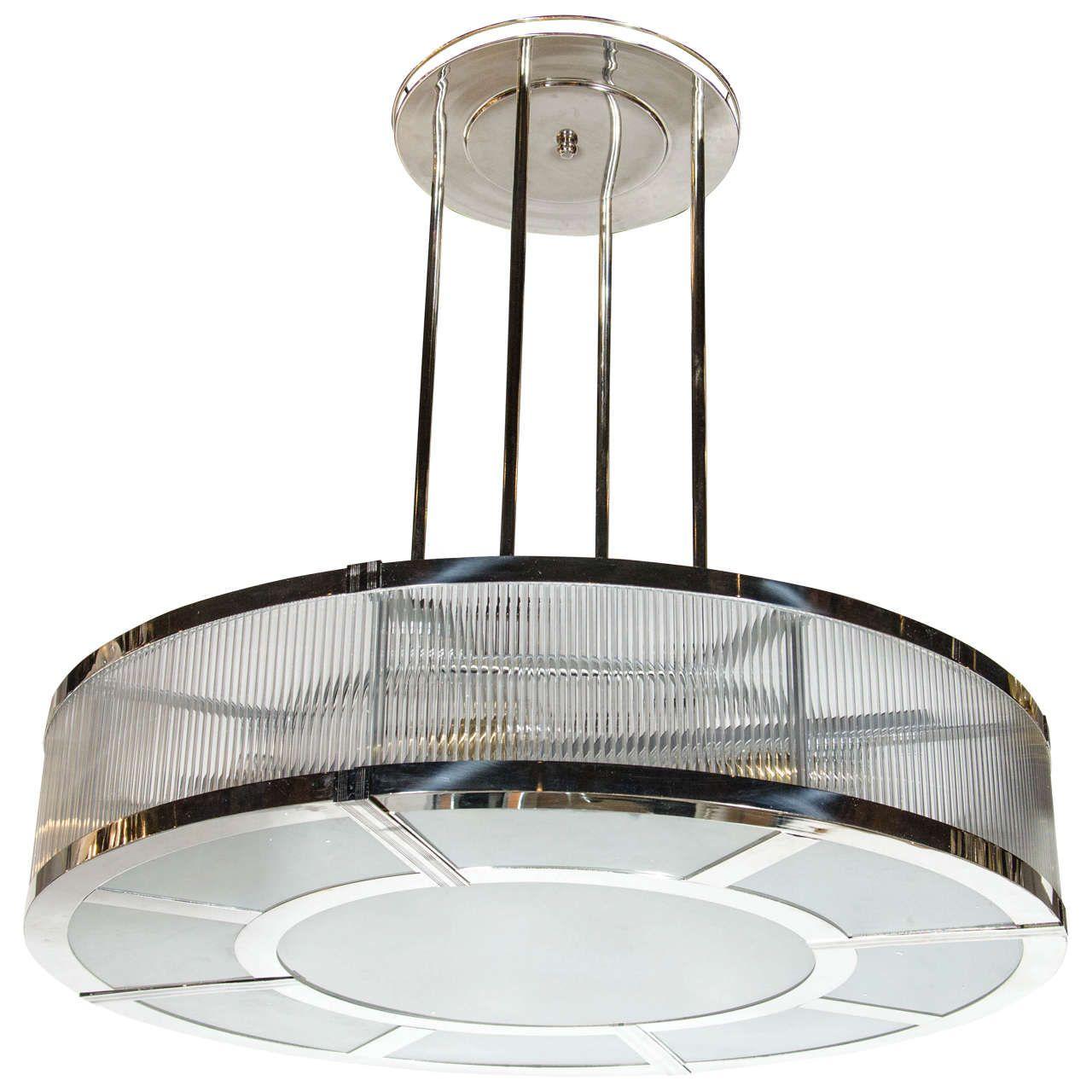 Streamline art deco style circular chandelier in polished nickel streamline art deco style circular chandelier in polished nickel glass arubaitofo Gallery