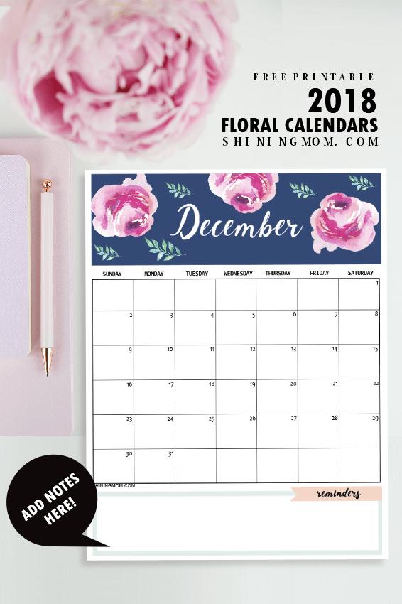 print this free 2018 calendar printable