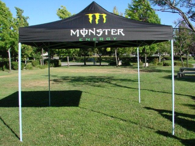 Outdoor Black Monster Energy Pop Up Gazebo EZ Canopy Tent Black Size 10ft x 10ft & Outdoor Black Monster Energy Pop Up Gazebo EZ Canopy Tent Black ...