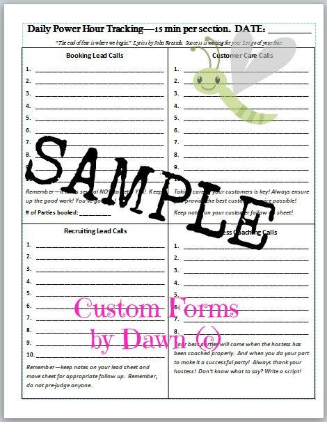 Power Hour Tracking forms for Direct Sales by SunnyDayzDesigns