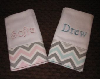 Twin baby gifts etsy baby pinterest babies burp cloth chevron monogrammed personalized baby gift twins pink or blue mist gray negle Choice Image