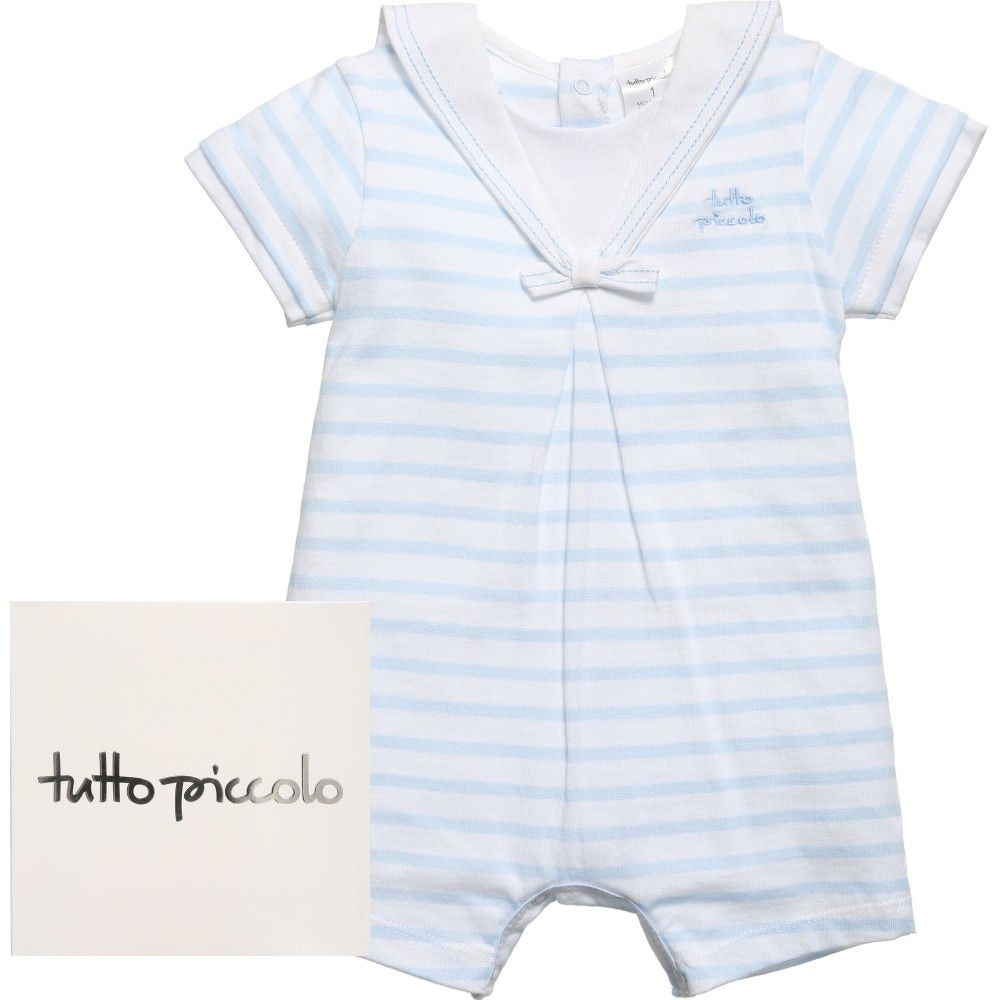 Tutto Piccolo Baby Boys White & Blue Striped Sailor Shortie at Childrensalon.com