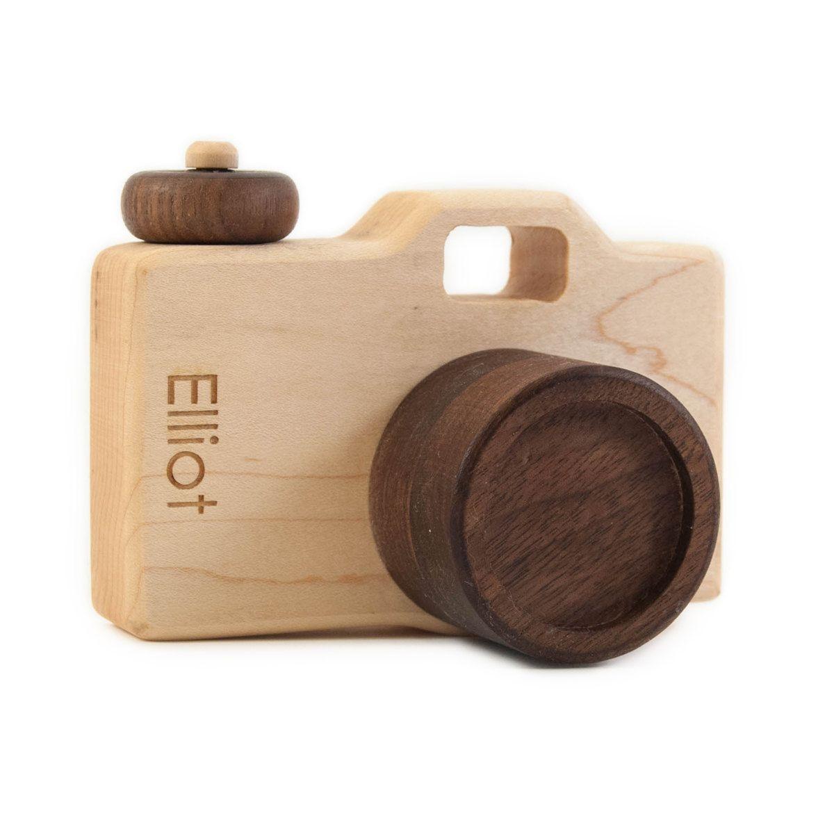Personalized Wooden Toy Camera Modern Organic Imagination