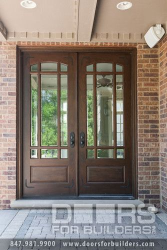 Double Door, Clear Beveled Glass/ W Praise Grills, Pre Hung, Prefinished  Custom Wood Front Entry Doors   From Doors For Builders, Inc.
