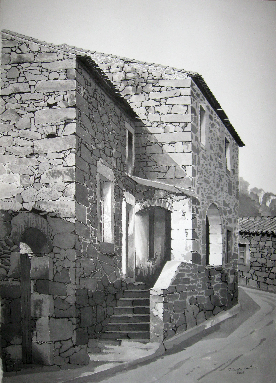 scorcio di Busachi (or) Sardegna Italy   dipinto a inch. di china .
