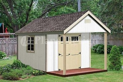 16 X 12 Cabin Shed Covered Porch Plans Plueprint P61612 Free Material List Guest House Shed Shed Plans Porch Plans