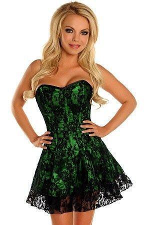 gothic satin lace corset dress green black gothic blue