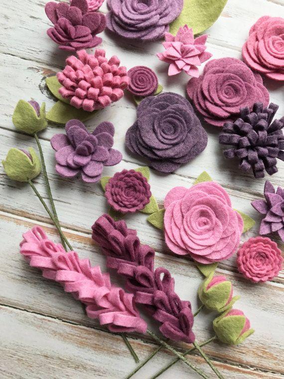 Photo of Lila Wollfilz Stoff Blumen – Weinberg Filz Blumen – große Posies – 25 Blumen & …