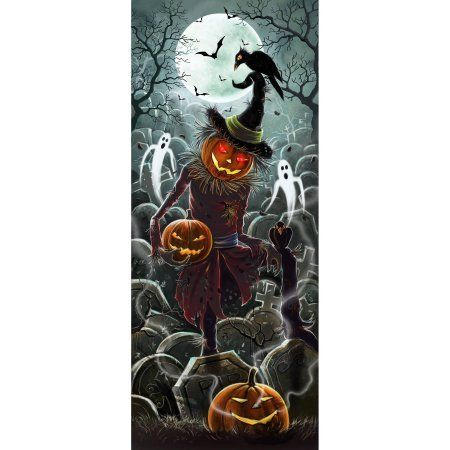 Lights and Sounds Halloween Door Panel Scarecrow Halloween - halloween statues