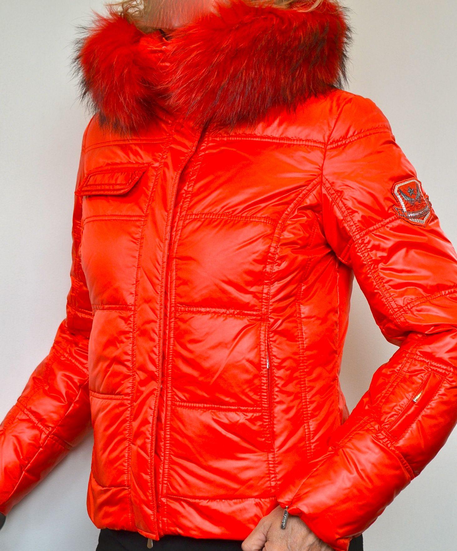 Down Fur Collar Glossy Red #Designer #Ski #Jacket.