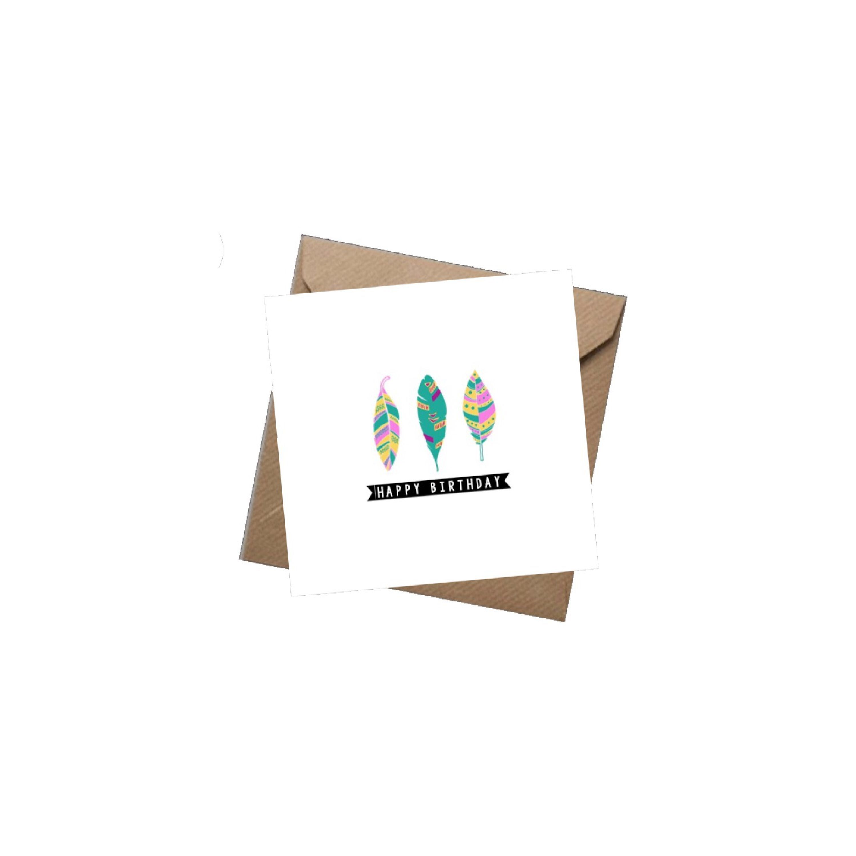 Happy Birthday Boho Feathers Greeting Card Greeting Cards