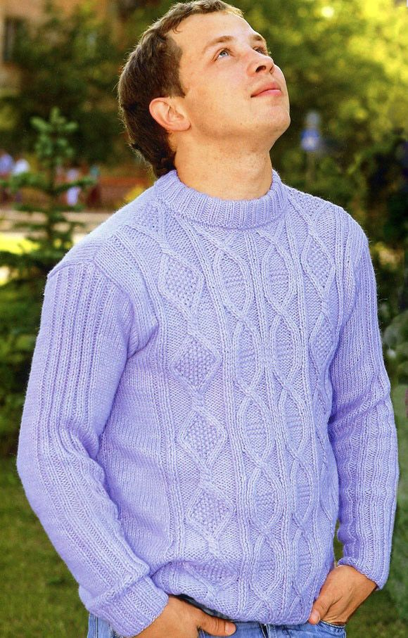 Men\'s Pullover in Textured Pattern with Cables | Knitting ...