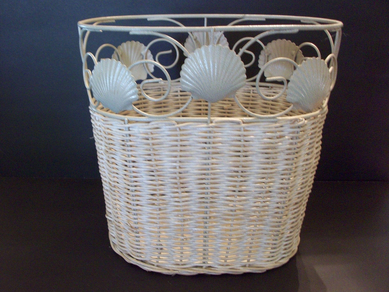 Wicker And Metal Seashell Waste Basket