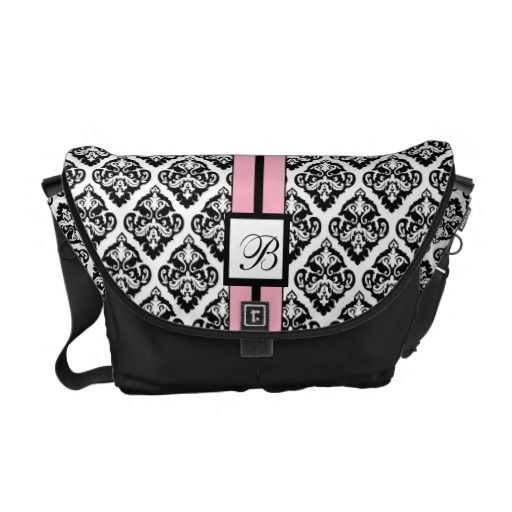 Monogram Damask Pattern Messenger Tote Black Pink Courier Bags #PinkAndBlackObsession