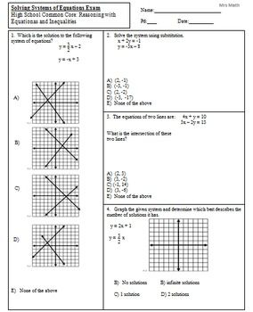 Solve Systems By Graphing Substitution Elimination Exam