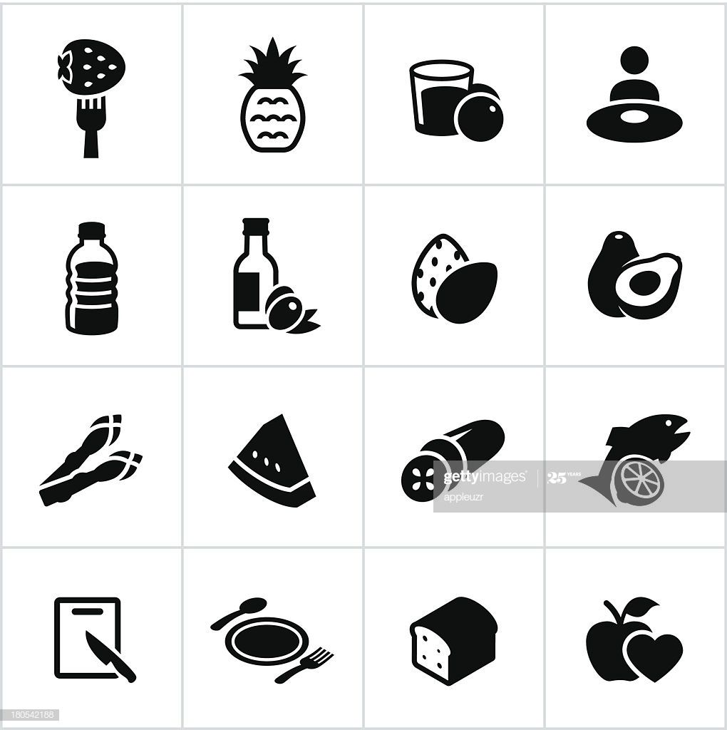Black Healthy Eating Icons Illustration #Ad, , #Sponsored, #Healthy, #Black, #Eating, #Illustration