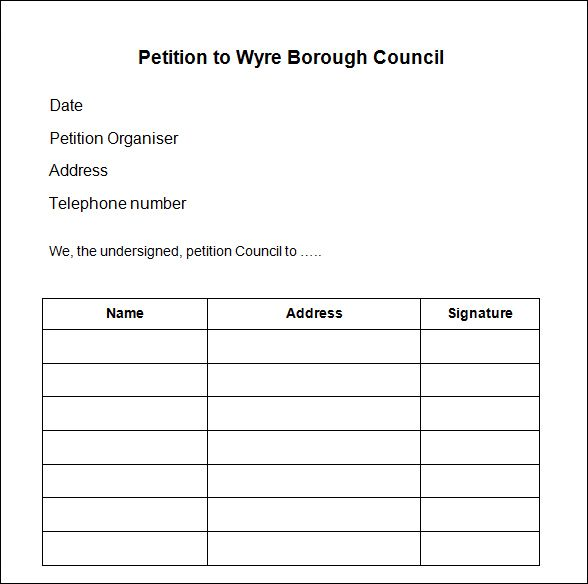 Blank Petition Form To Print Printable Blank Petition Forms Best