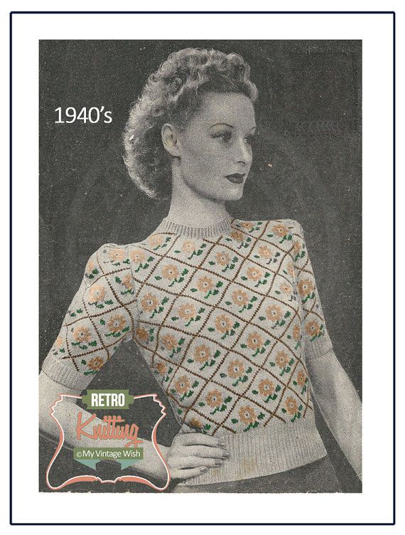 1940s Fair Isle Sweater Vintage Knitting Pattern by MyVintageWish ...