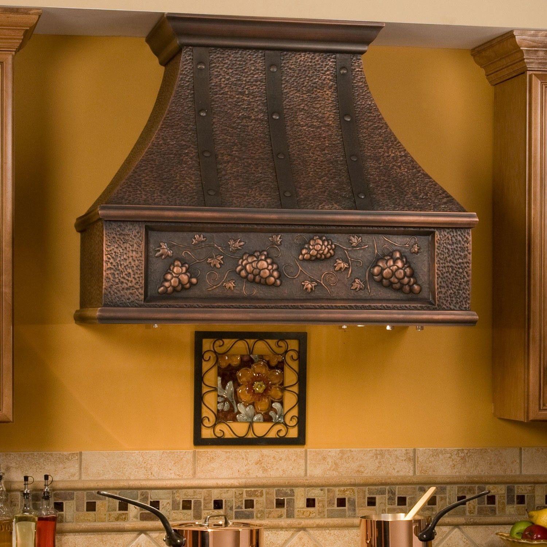 36 Tuscan Series Copper Wall Mount Range Hood Grape Motif Range Hoods Kitchen Copper Kitchen Kitchen Backsplash Photos Tuscan Kitchen