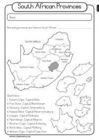 Several worksheets and other information about South Africa ...