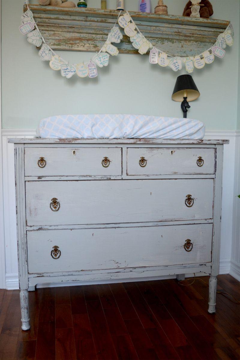 Commode ou table à langer shabby chic gris et bois | Rustic ...