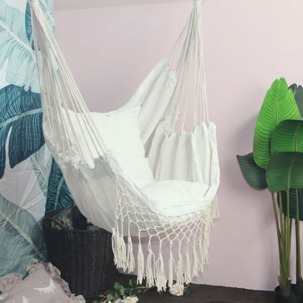 Hanging Rope Hammock Chair Porch Swing Seat Large Hammock Net Chair Swing Cotton Rope Porch Chair For Indoor Garden Patio Porch Rope Hammock Chair Swing Seat Porch Chairs