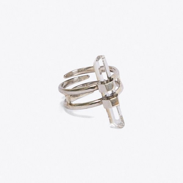 Odyssey Ring (£53) ❤ liked on Polyvore featuring jewelry, rings, sterling silver adjustable ring, sterling silver jewelry, sterling silver jewellery, sterling silver rings and clear crystal ring