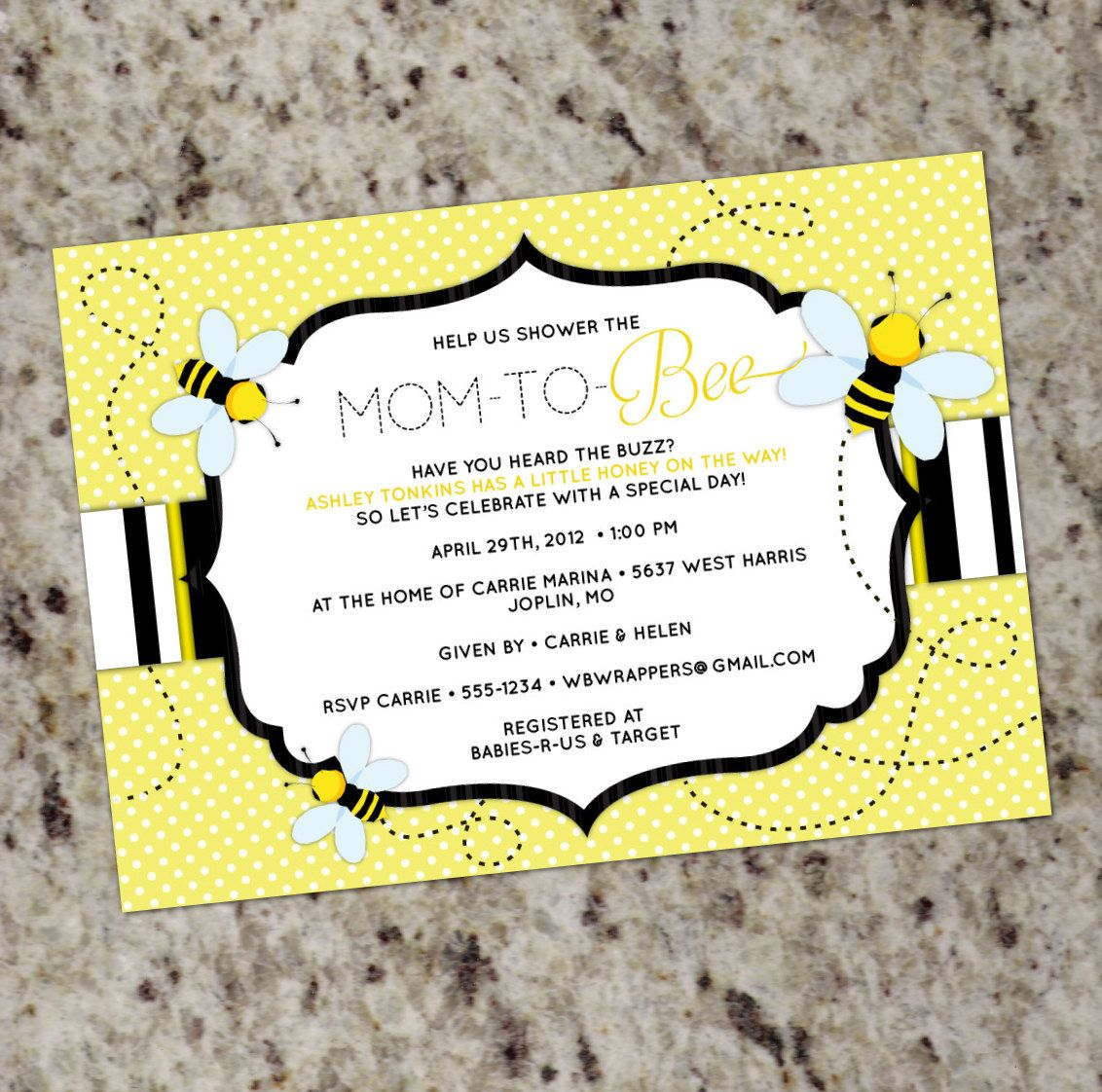 BEE THEMED - Baby Shower Invitation - Mom to \