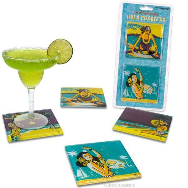 Hula Girl Glass Coasters