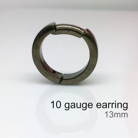 10 Gauge Black Hoop Earings Men S Earrings Black Gold Etsy Men Earrings Black Earrings Men Black Hoops