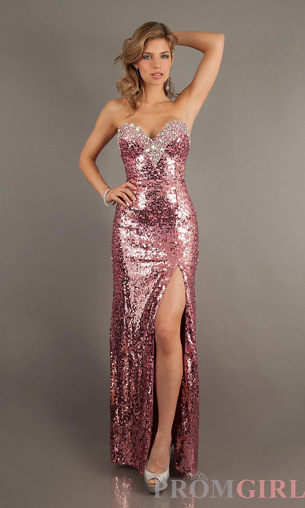 Strapless sequin prom gown long sequin prom dresses promgirl
