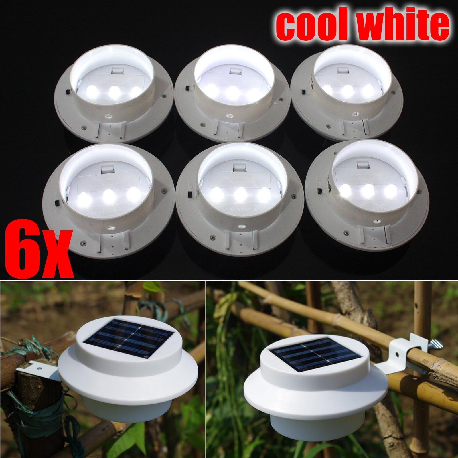 6x Black Solar Powered 3 LED Gutter lights Outdoor Garden Wall Fence LAMP