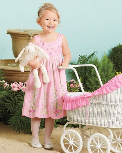girls rose embroidered dress