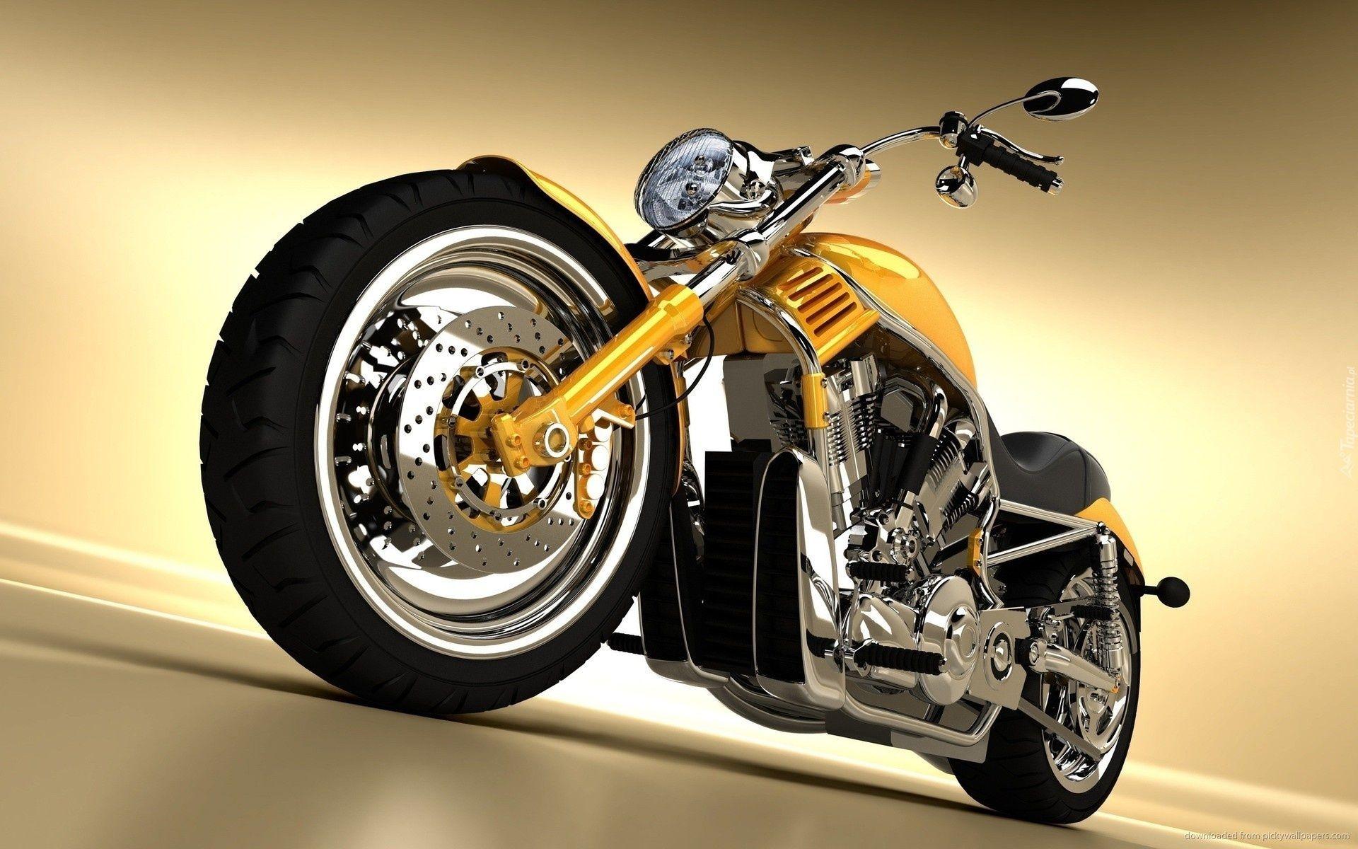 Harley Davidson Chopper Zolty Motocykl Motocykle Harley