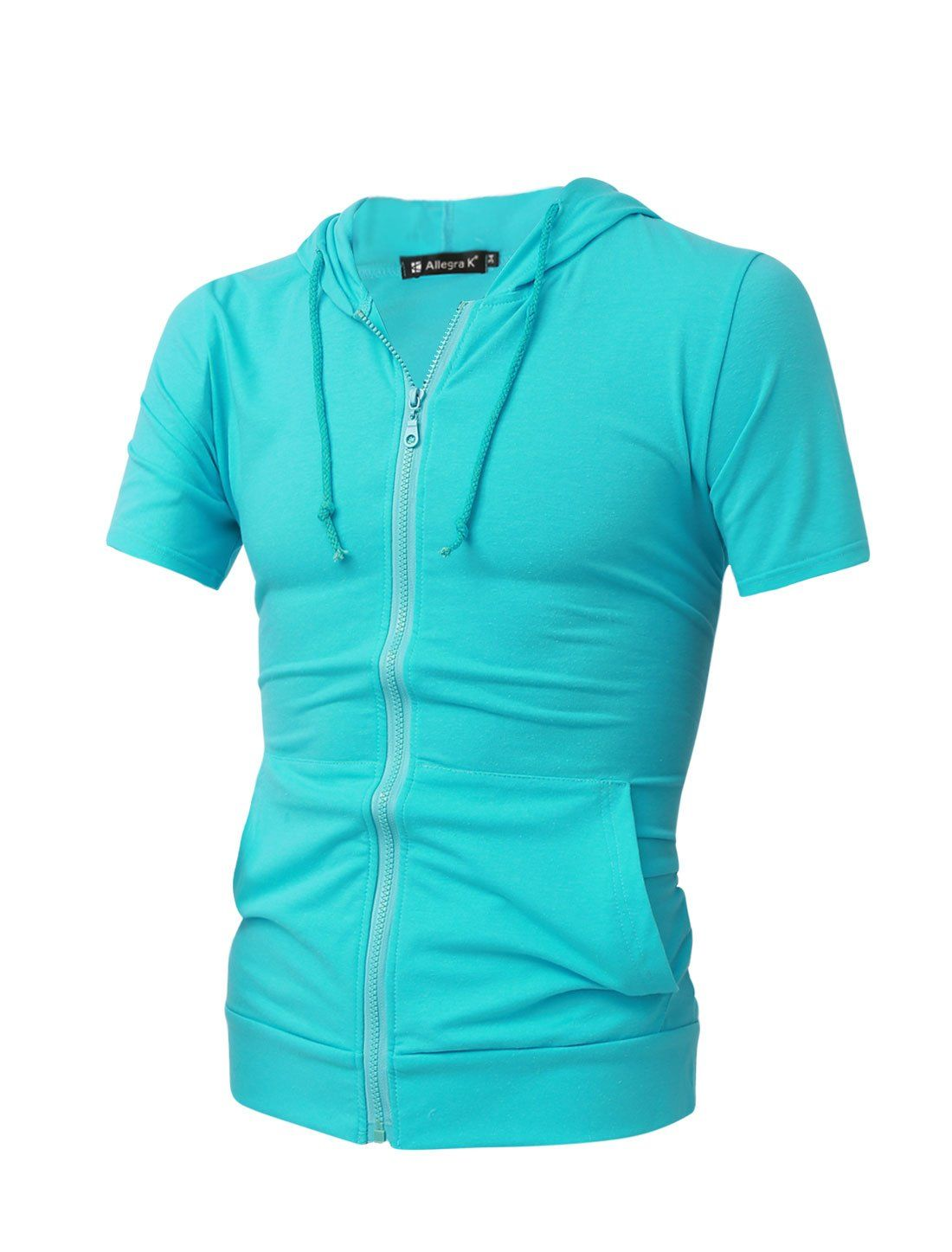 Allegra K Men Short Sleeve Drawstring Hoodie Zipper Front Hoodies Light Teal L