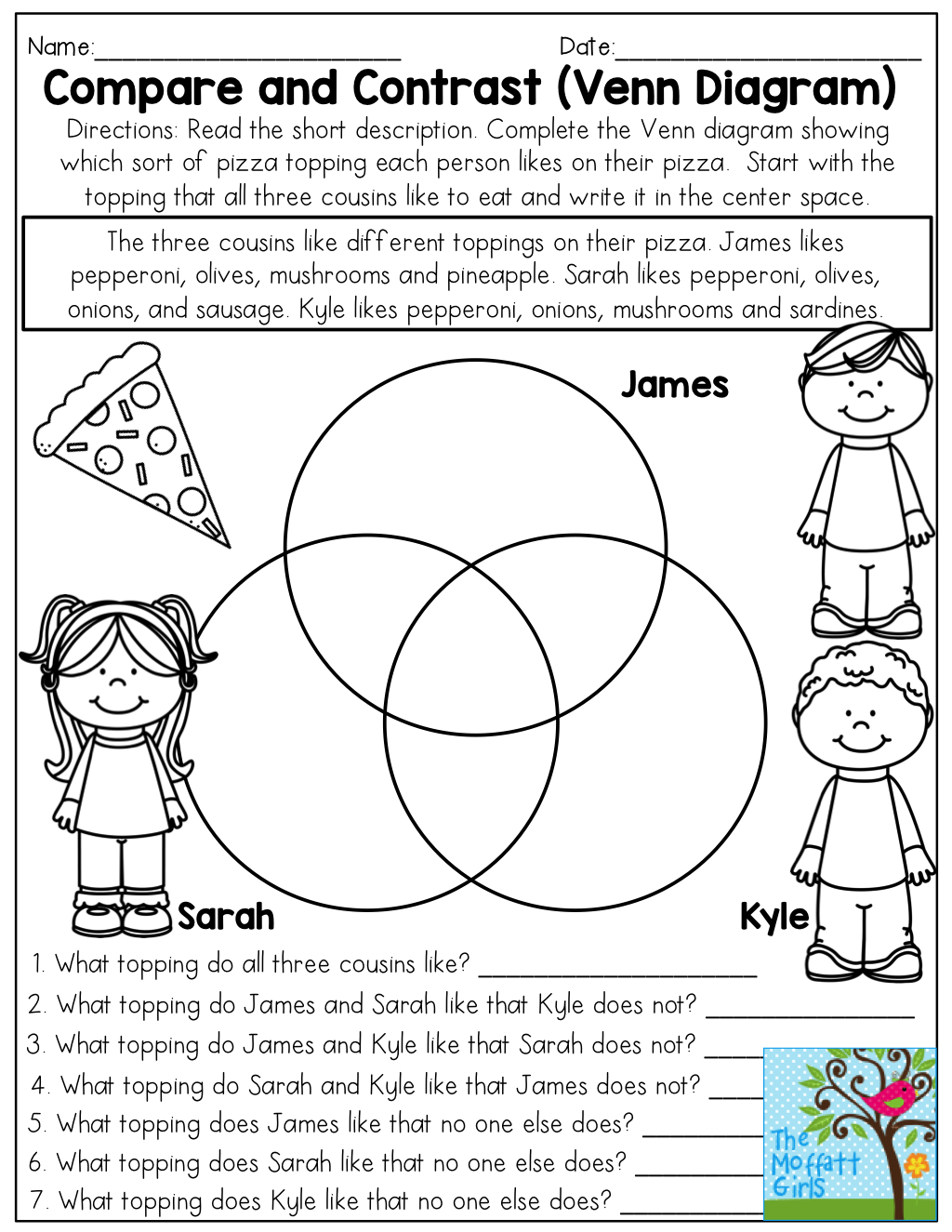 Third Grade Venn Diagrams Worksheet