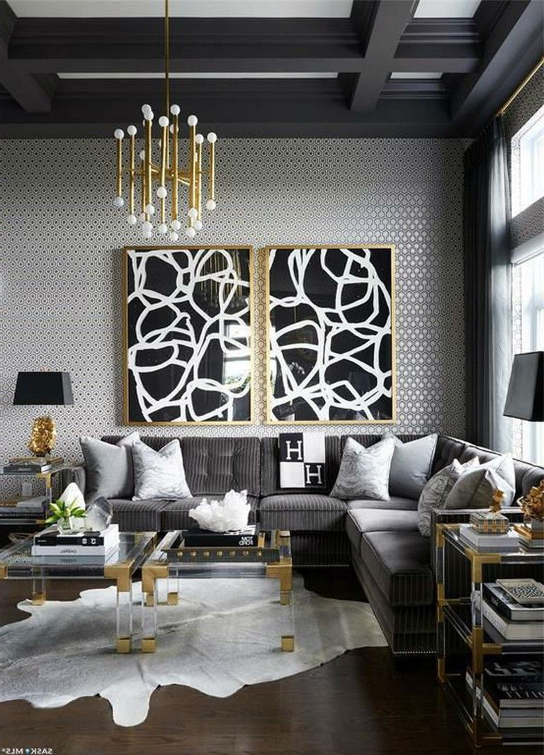 Home Decor Grey in 9  Black and gold living room, Silver