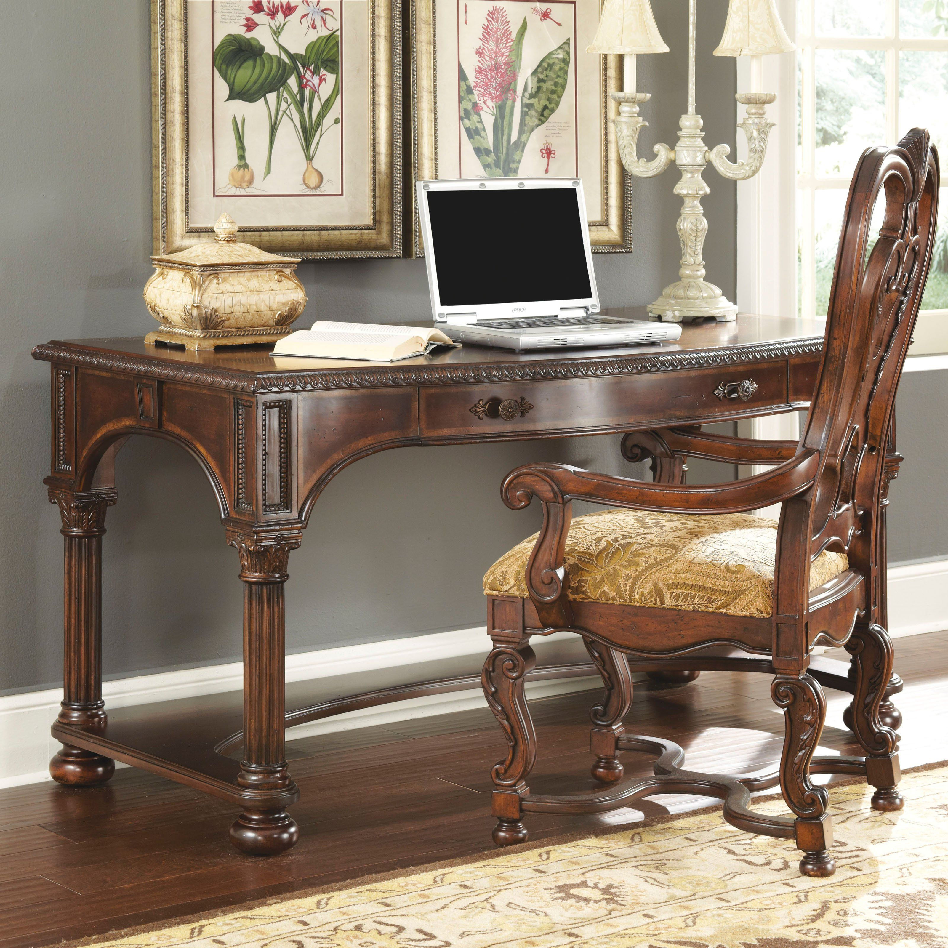 A R T Furniture Capri Writing Desk Medium Cherry Www Hayneedle Com Desk And Chair Set Desk Chair Diy Cool Office Desk