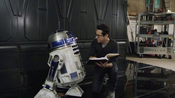 Behind the scenes of Star Wars: Episode VII - The Force Awakens,  (2015), director J.J. Abrams with R2D2.