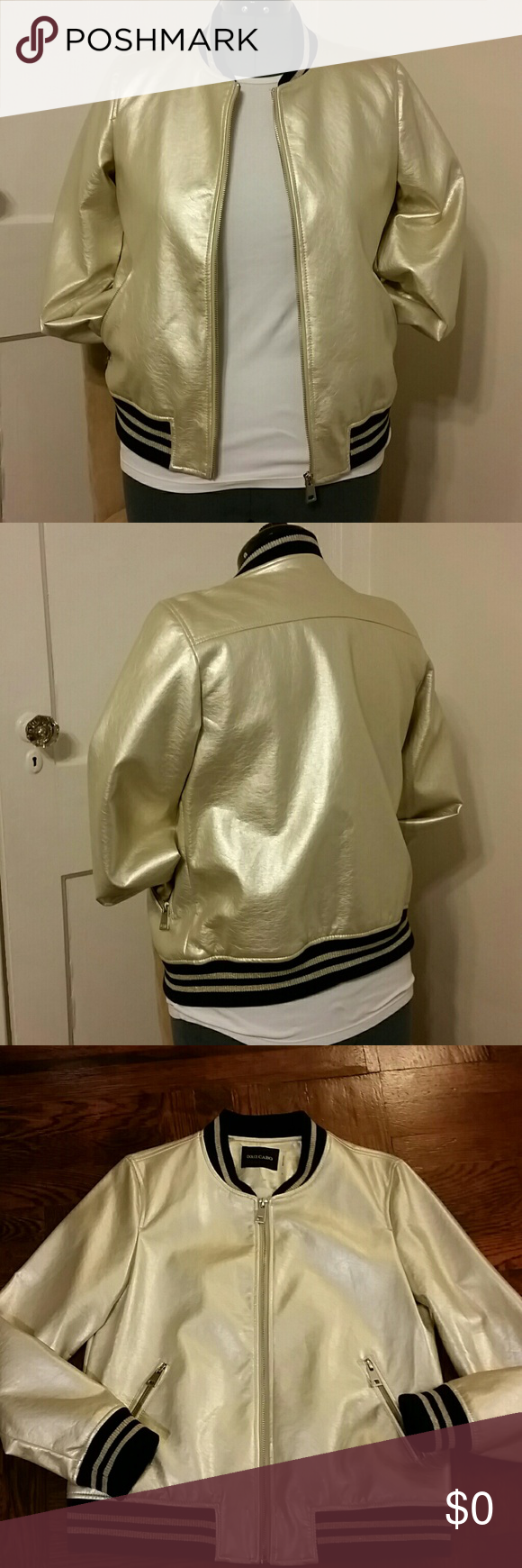 NWT DolceCabo bomber jacket Beautiful on trend white gold