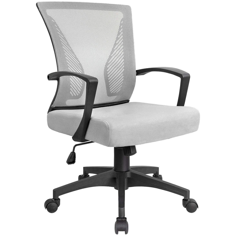 Kaimeng Mid Back Office Chair Ergonomic Computer Chair Desk Chair With Lumbar Support Gray Computer Chair Office Chair Cheap Office Chairs