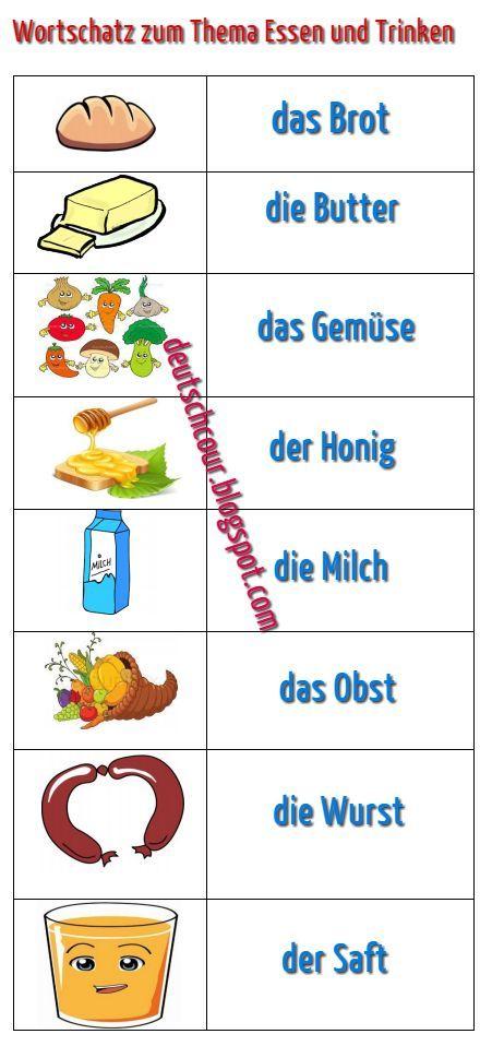 Deutsch lernen: Wortschatz zum Thema Essen und Trinken   Germania ...