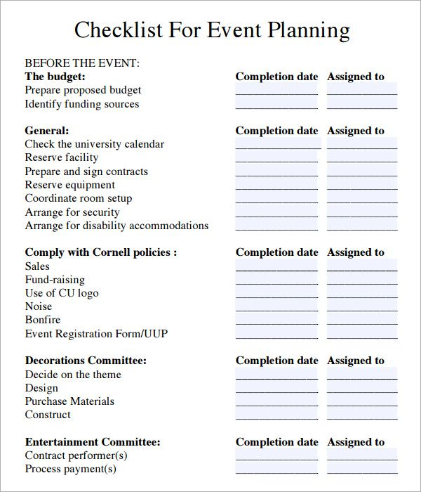 event planning checklist - Google Search Functions Pinterest - microsoft word checklist template download free