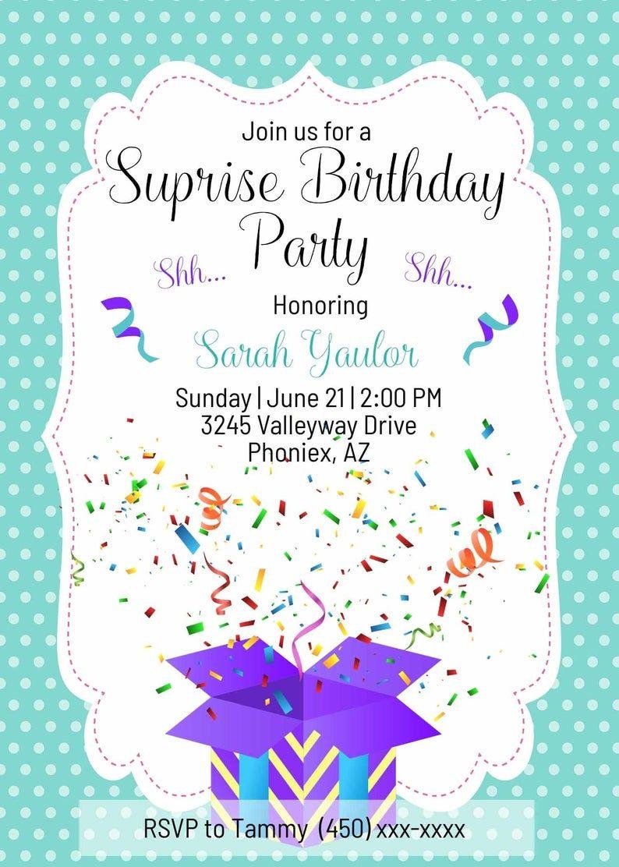 Surprise Birthday Party Invitations Editable Birthday Party Etsy Surprise Birthday Party Invitations Surprise Party Invitations Party Invite Template