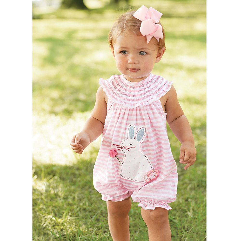 3dcfedcb6c49 Mud Pie Baby Girls Pink Striped Easter Bunny Bubble Romper One Piece Outfit  6-9M  MudPie  EverydayHolidayEaster