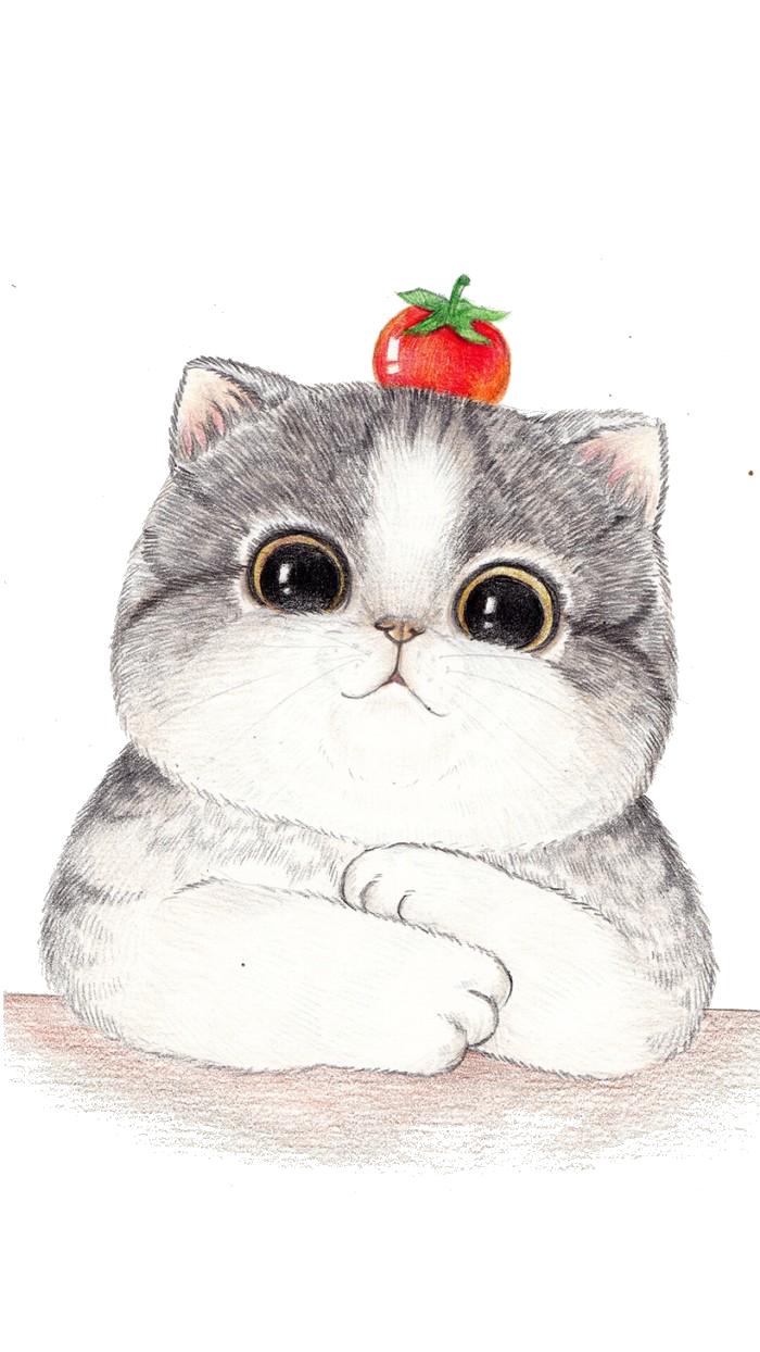 Cat Cartoon Drawing Illustration Big Cat Face Painted 700 1244