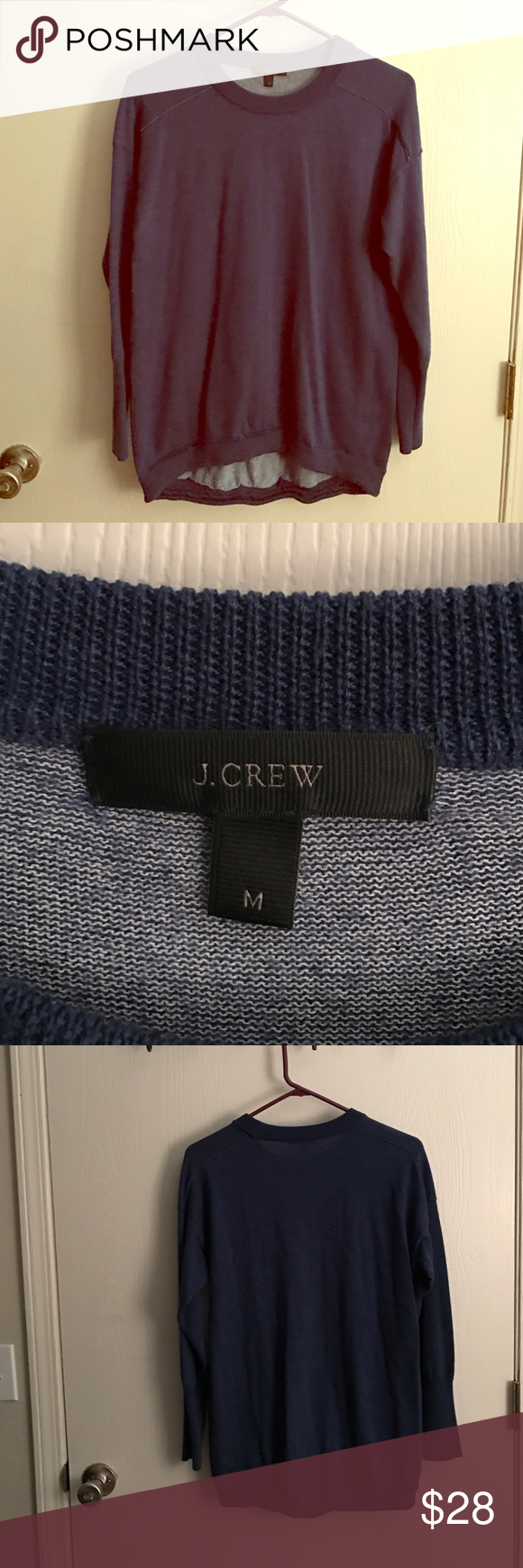J crew wool sweater Beautiful blue sweater. Can be dressed up or down. Lightly worn no flaws! J. Crew Sweaters Crew & Scoop Necks